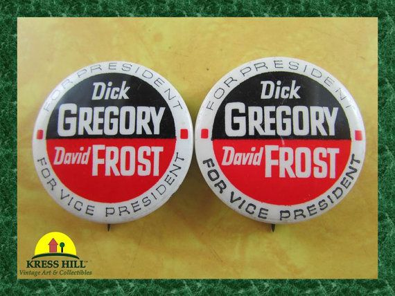 Pair  Retro Dick Gregory For President David by KressHillVintage