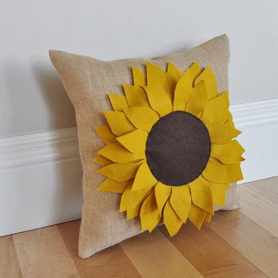 sunflower pillow burlap pillow fall pillow summer pillow garden pillow autumn decor gift pillow