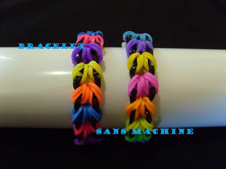rainbow loom bands bracelet elastique sans machine tuto en francais sans machine pinterest. Black Bedroom Furniture Sets. Home Design Ideas