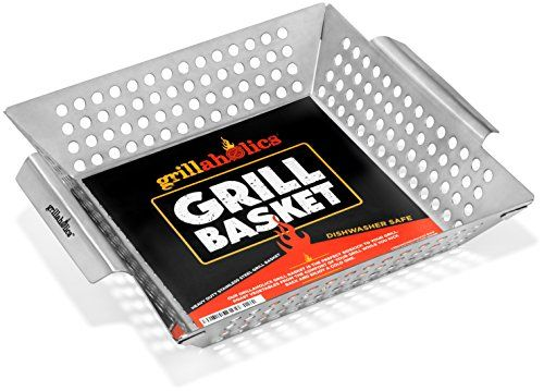 Grillaholics Grill Basket, Best in Barbecue Grilling Accessories, Grill BBQ Veggies on Gas or Charcoal Grills with this Stainless Steel Vegetable Grill Basket -- Want additional info? Click on the image.