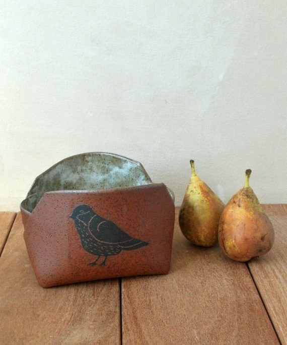 Ceramic Bowl Rustic Bird Decorated Serving Bowl by ShellyClayspot