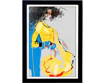 Ilustración de moda Dsquared2 imprimir 1 - boceto del arte de cartel, textura gris papel Digital color lápiz y tinta contemporáneo interior pieza de arte