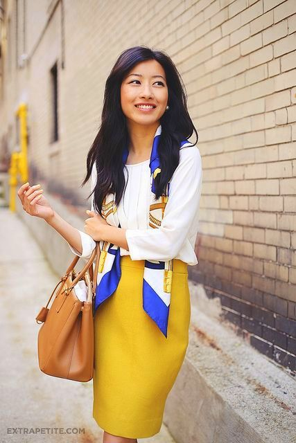 Mustard Pencil Skirt with Long Sleeve White Tee and Print Scarf.