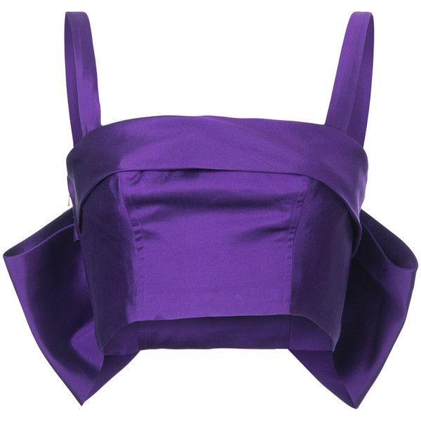 Bambah back bow bustier top ($490) ❤ liked on Polyvore featuring tops, purple, purple bustier, purple top, purple bustier top, bustier tops and silk tops