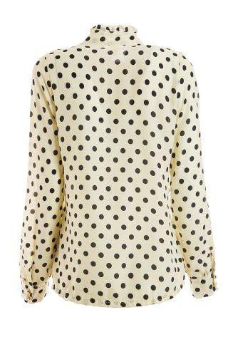 Zwart Overhemd Met Witte Stippen.Elegant Style Stand Collar Polka Dot Flouncing Embellished Long