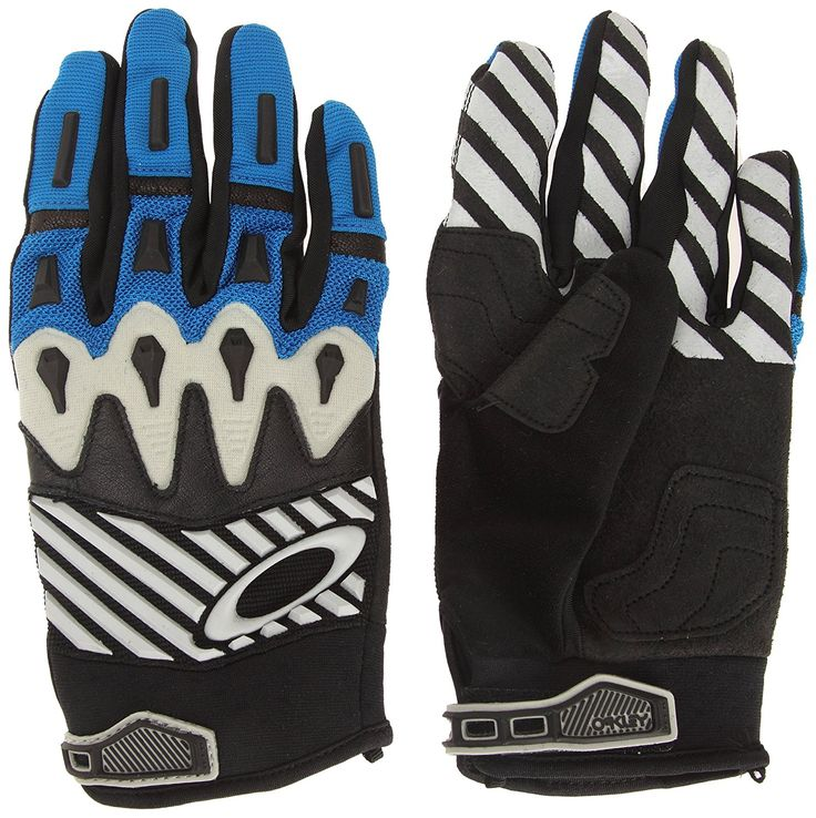 Oakley Overload Mens Off-Road Motorcycle Mountain Bike and BMX Gloves Black/Blue -- Details can be found by clicking on the image.