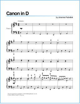 Canon in D (Pachelbel) | Printable Sheet Music for Piano - http://wavemusicstudio.com/free-sheet-music/canon-in-d-piano-sheet-music.php