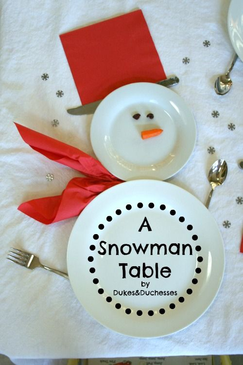 a snowman place setting