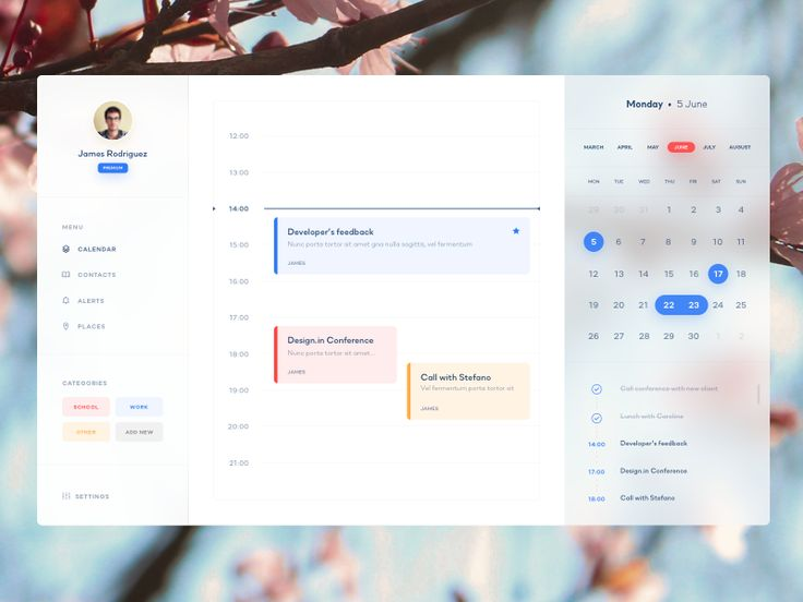 Calendar App for Mac OSX Filip Legierski https://dribbble.com/shots/3986680-Calendar-App-for-Mac-OSX