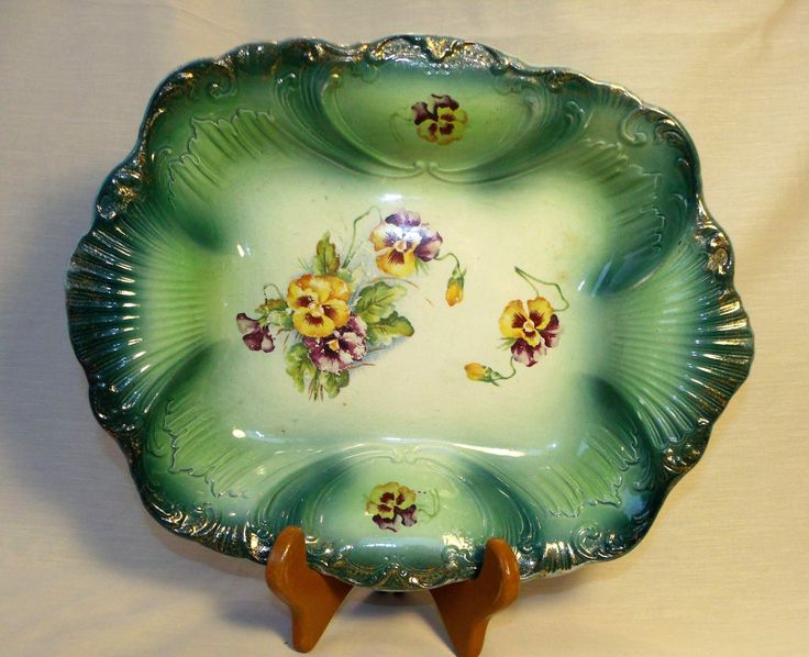 Antique Empire Works Porcelain Bowl ~ Shelton (Hanley), Stoke-on-Trent ~ Beautiful Green w/ Purple Pansy ~ Victorian Bowl ~ Eclectic China by EclecticJewells on Etsy