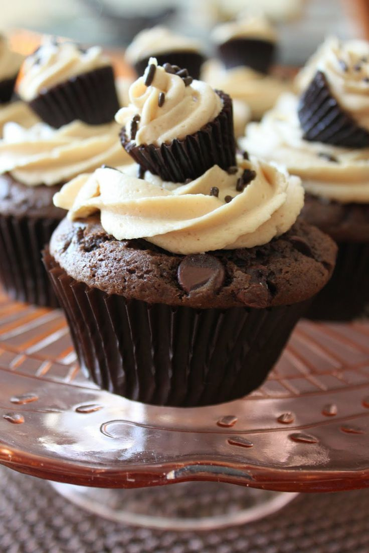 Chocolate Chip Cupcakes with Creamy Peanut Butter Frosting