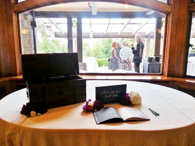 Rustic guestbook signing table - Cecil Green Park House - http://cecilgreenpark.ubc.ca/2013/chantal-and-stefan/
