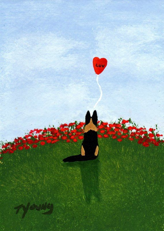 German Shepherd Dog LUV Valentine Limited Edition reproduction Print of Todd Young painting on Etsy, $15.35 CAD