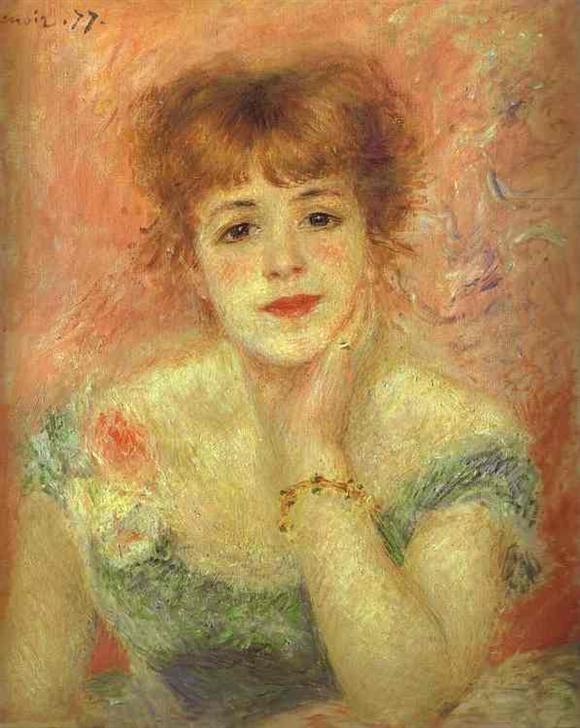 *잔 사마리의 초상*   (르누아르 /1877. Oil on canvas)  이 작품의 모델은 르누아르의 옛 연인이자 코메디프랑세스 여배우인 잔 사마리라는 여인이다.