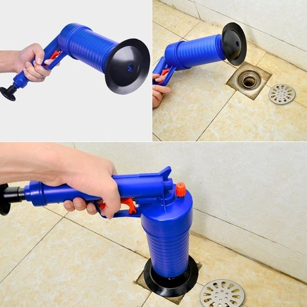 Kitchen Toilet High Pressure Drain Pipes Sinks Air Power Blaster Cleaner Plunger Clog Remover Drain Pipes Pressure Pump Sink