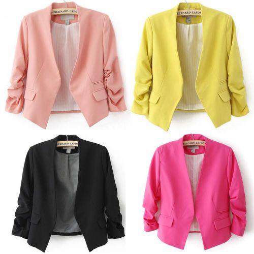 2014 New Women Fashion Spring Candy Color Cotton Slim Suit Blazer Coat Jacket J