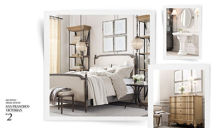 1000 images about master bed on pinterest stencils floor painting and pendant lights - Small spaces restoration hardware set ...