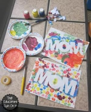 Easy Mother's Day Craft using Paint Resist.  Perfect for a Mother's Day Gift from Kids! by marjorie
