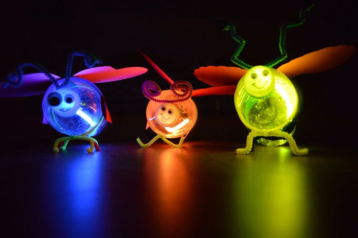 Lightning bug craft from water bottles  glow sticks from our Weird Animals VBS