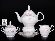 Чайный сервиз на 6 персон 17 предметов Бернадотт Серая роза платина