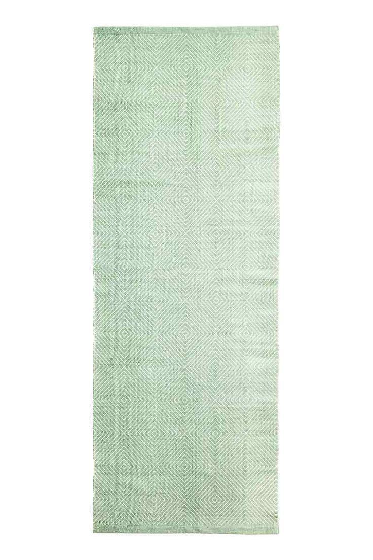 Katoenen vloerkleed met dessin - Lichtgroen - HOME | H&M NL 1 € 34,99