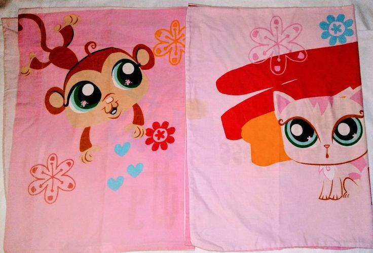 2-LPS ( Littlest Pet Shop ) Double Sided Standard Size Pillowcase  #Hasbro