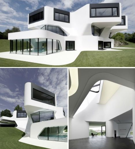 Is this the world's most futuristic house design? Dupli Casa, designed by J. Mayer H. Architects, is a three-floor vila in Ludwigsburg, Germany with views of David Chipperfield's Museum of MOdern Literature. Built in 2008, the angular design was based on the footprint of a pre-existing house that was completed in 1984.
