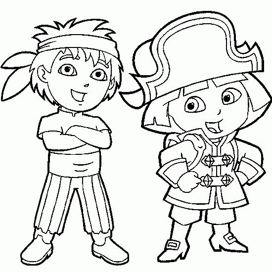 printable dora the explorer and diego dressed as pirate coloring pages printable coloring pages for kids - Printable Pictures Of Dora The Explorer