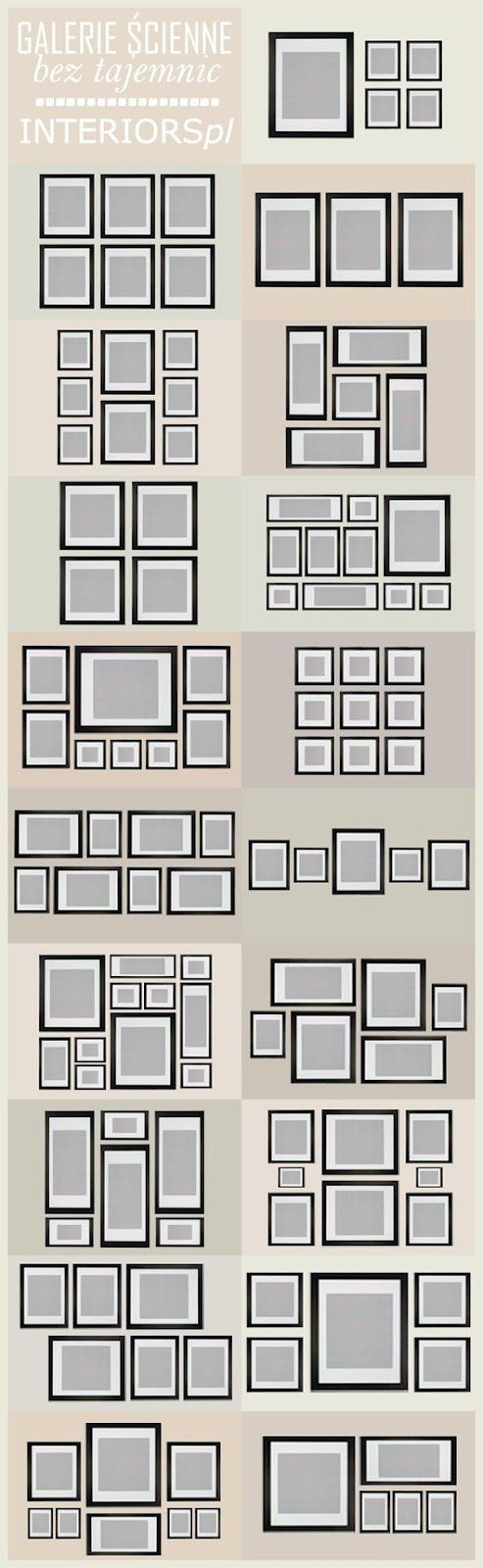 """If you have ever struggled with proper frame placement, here is a great """"map"""".  Remember to center pictures at eye level and use newspaper to block it out on the wall to prevent multiple nail holes."""