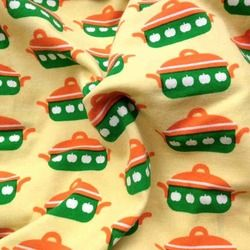 Jersey met pannen geel door halsoverkop for Space pizza fabric