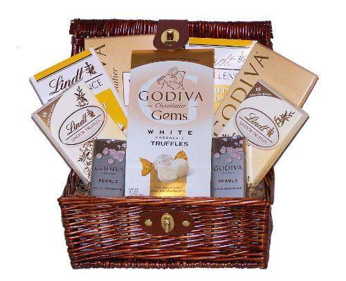White Chocolate Galore Godiva & Lindor Holiday Gourmet Gift Basket - http://mygourmetgifts.com/white-chocolate-galore-godiva-lindor-holiday-gourmet-gift-basket/