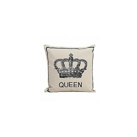 Kussen Queen 40x40cm. Kussen met hierop de tekst: Queen. Formaat kussen 40x40 cm, gemaakt van katoen.