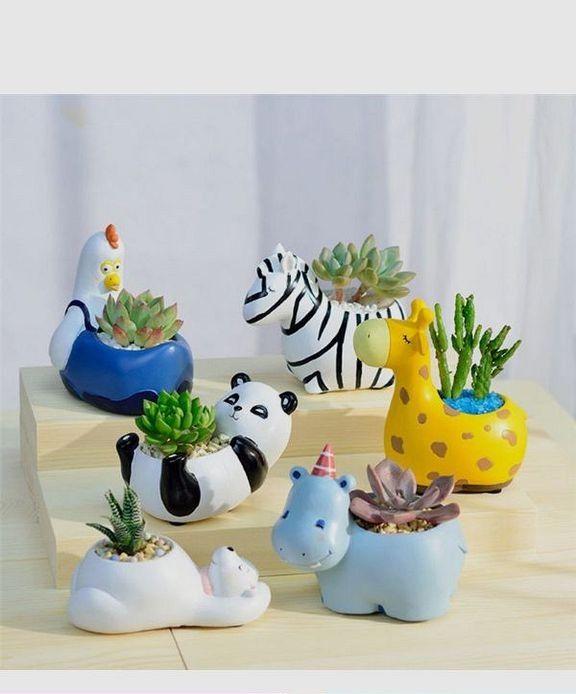 Garden Pots & Planters 2pcs Lovely Corgi Dog Shaped Plant Decor Succulent Plants Decorative Flower Pot