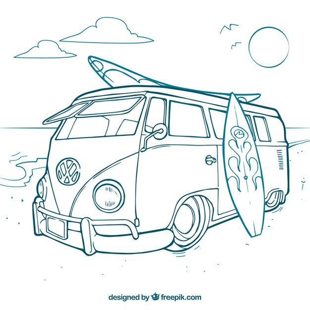 Baixe Surfista Van Gratuitamente Com Imagens Desenhos De Kombi