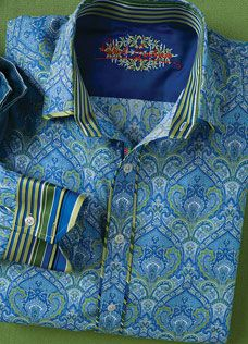 Robert Graham MULIN Green/Blue Paisley Shirt, Style RS08121, Spring 2008