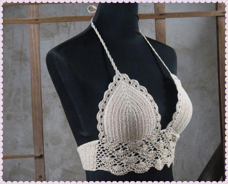 Classical Crochet Bikini Swimwear Sexy Handmade Crocheted Classic Crop Top,Bra Top T289