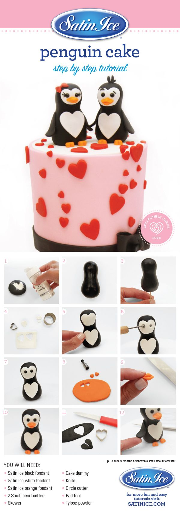 DIY fondant Penguins in Love by Satin Ice!