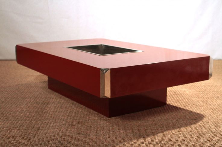 Vintage Red Coffee Table by Willy Rizzo for Mario Sabot 4