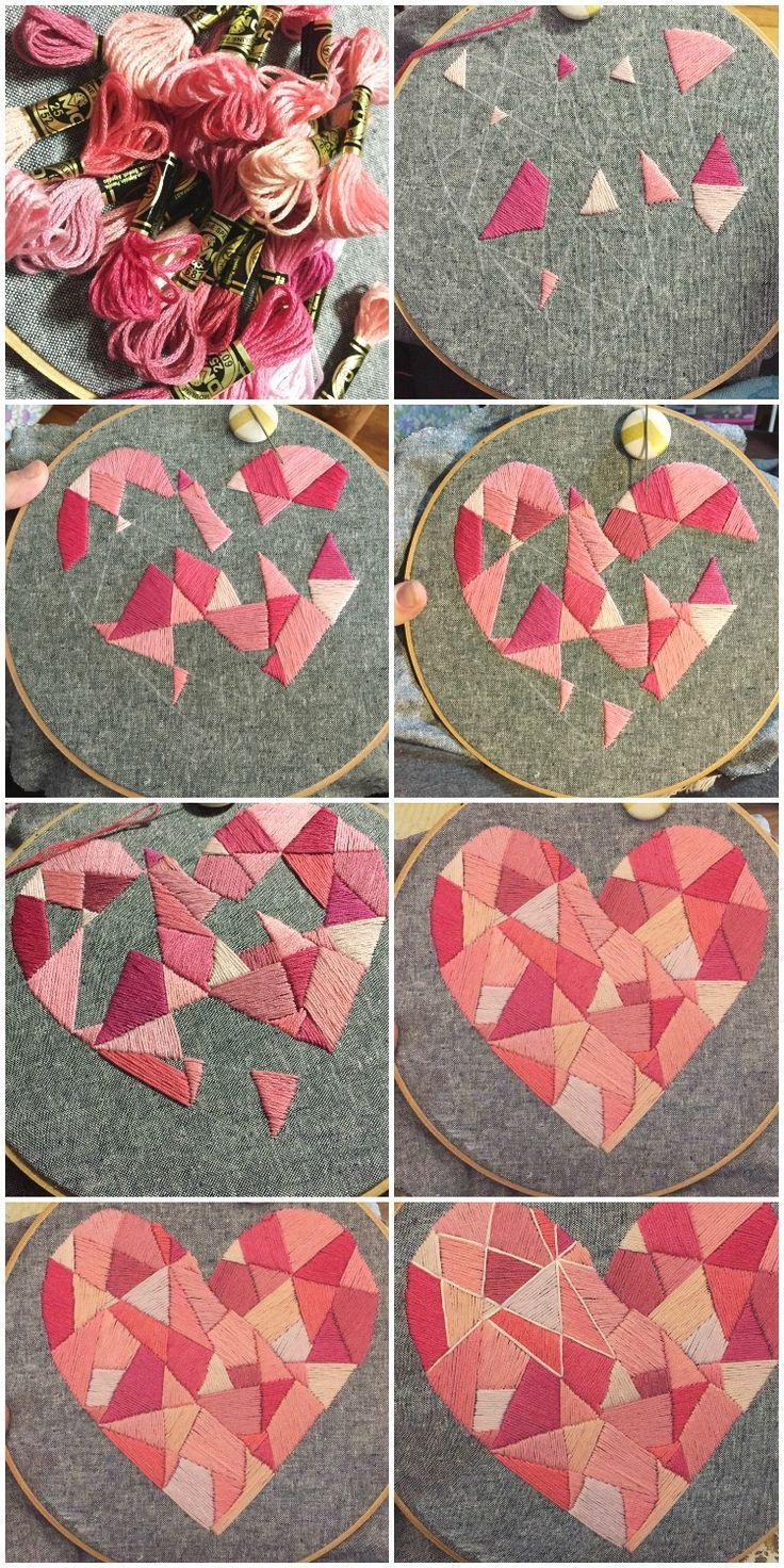 Stitching in the Geo Style Heart Hoop Art - http://BusyBeingJennifer.com