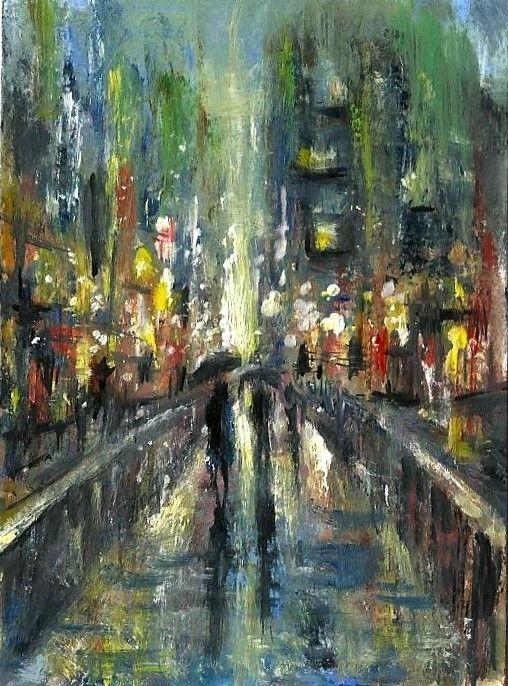 Aceo Original Oil Rain City Night Light Streets Landscape