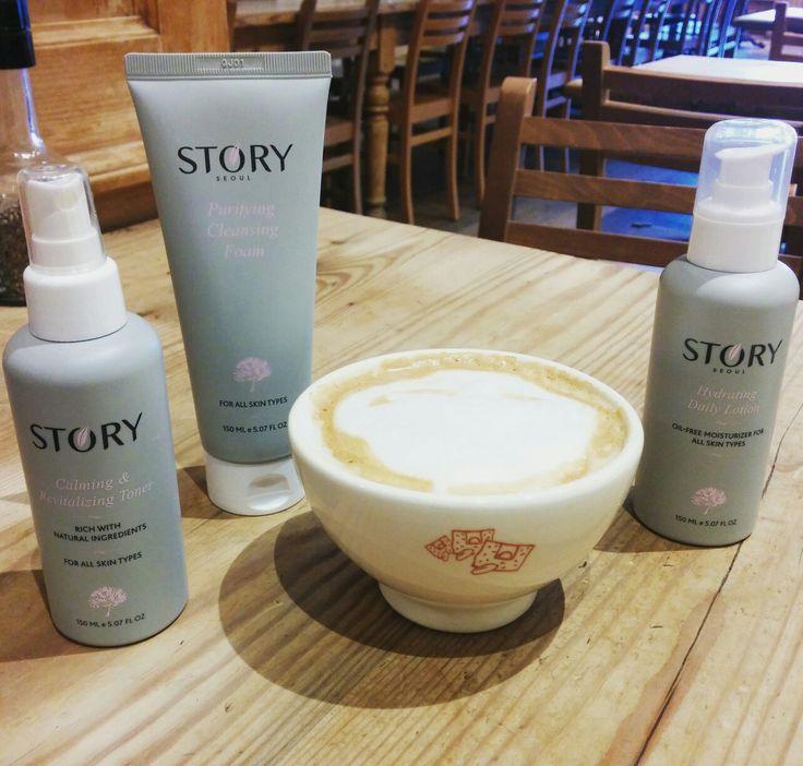 Almond milk latte to start my weekend & Story Seoul Skincare to brighten my skin @lepainquotidien Pasadena, California