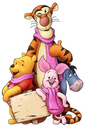 Tigger, Pooh and Piglet wearing pink scarves