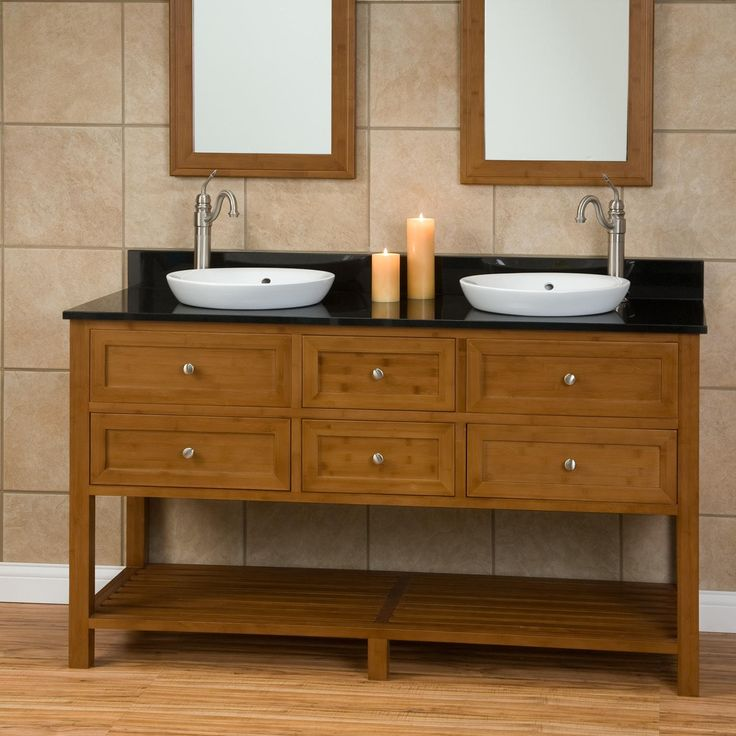 60 Taren Bamboo Double Vanity For Semi Recessed Sinks Bathroom Vanities Vanities And Vanity