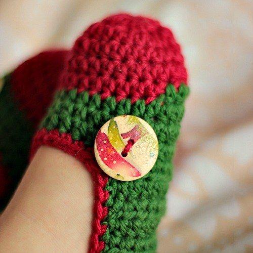 Ťapky dětské zelenočervené s houbičkami