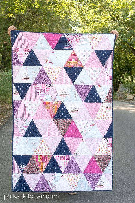 Triangle Quilt in pink and navy