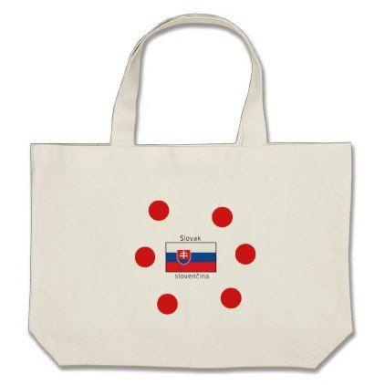 Slovak Language And Slovakia Flag Design Large Tote Bag - accessories accessory gift idea stylish unique custom