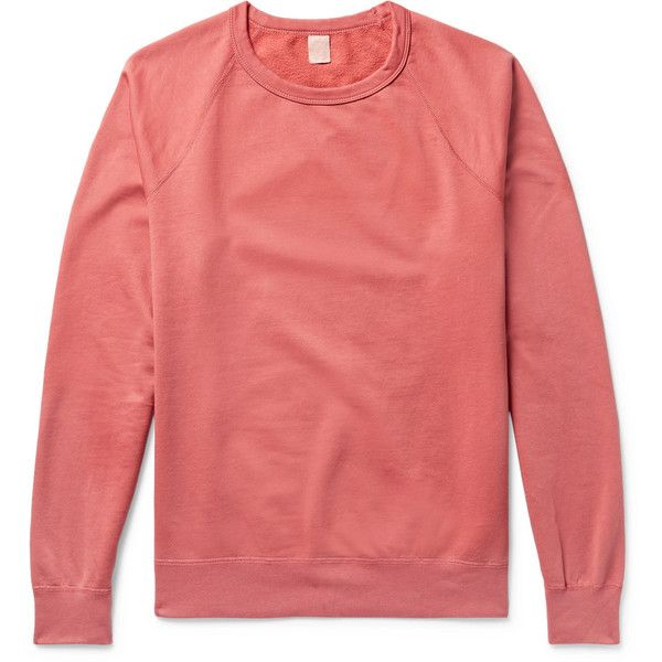 Save Khaki United Fleece-Back Supima Cotton-Jersey Sweatshirt ($90) ❤ liked on Polyvore featuring men's fashion, men's clothing, men's hoodies, men's sweatshirts, mens pink sweatshirt and mens fleece sweatshirts