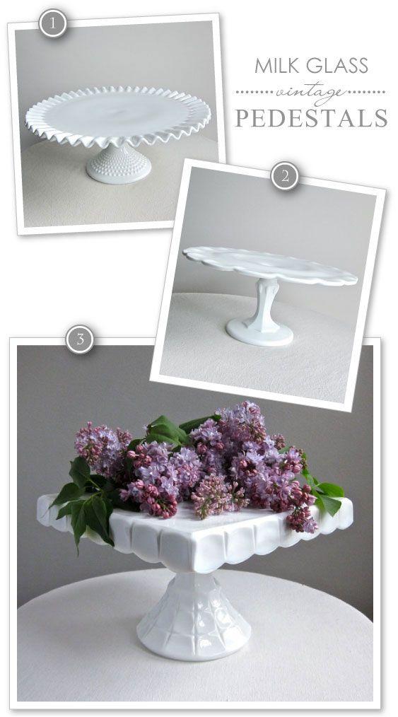 Milk Glass Cake Pedestals | TheCakeBlog.com