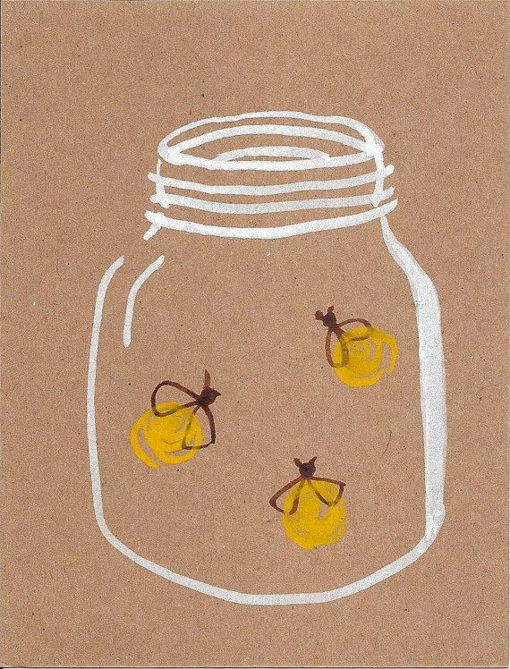 Fireflies  Original Watercolor  Postcard  by thirdcoastpapersails, $3.00
