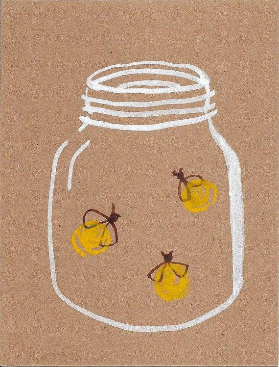 Fireflies  Original Watercolor  Postcard  by thirdcoastpapersails, $3.00